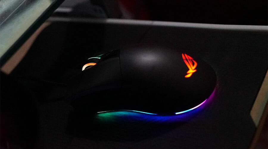 Gaming mouse with RGB lighting. One of the few mice which are good for a palm grip.