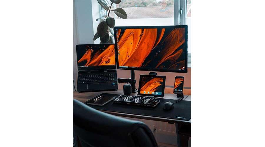 An example of a laptop desk setup.