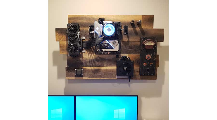 Wooden Custom Wall Mounted PC Setup