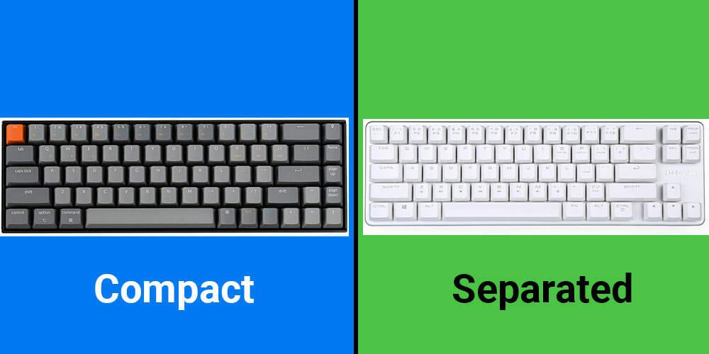 Keyboard sizes: 65% compact vs 65% separated.